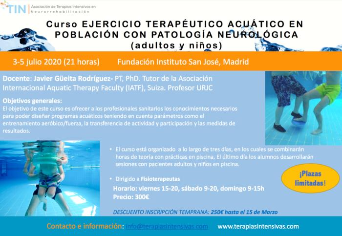 Curso de terapia acuática en Madrid 2020
